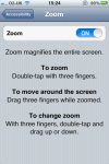 Zoom menu screen shot iPhone